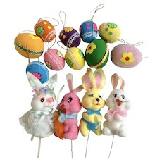 1970's Easter Decorations Pick Ornaments Bunny Rabbits & Eggs Group