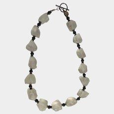 Dorey Designs Inc. Beautiful Designer Natural Quartz & Black Onyx Stone Necklace 925