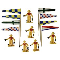 Vintage Cake Decoration Circus Toppers Flags, Clowns Plastic Made in Hong Kong Figurines