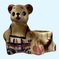 Mid-Century California U.S.A. Teddy Bear Small Planter Vase Pottery Figurine