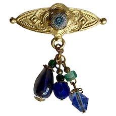 Pretty Gold-tone Design Blue Glass Beaded Pin Brooch