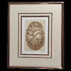 Marsha K Howe, Intaglio Etching, A Hedgehog with Pink Flower, Limited Edition Print, Signed by Listed Artist