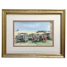 Robalino, Two Prairie Wagons Parked by the Barn, Watercolor Landscape Painting Signed by Florida Artist