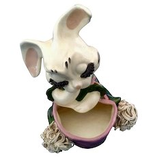 Rare Retro Spaghetti Big Eyelash Bunny Rabbit Anthropomorphic Planter Head Vase Porcelain Figurine