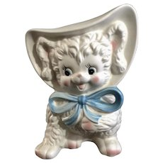 Vintage Inarco Baby Lamb with Blue Ribbon Bow Child's Planter Pottery Made in Japan Figurine E-1457