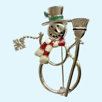 Christmas Snowman with Cascading Snowflake Pin