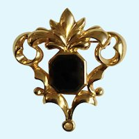 Avon Gold-tone Swirl Design Black Glass Center Bead Pin