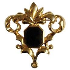 Avon Gold-tone Swirl Design Black Glass Center Bead Pin