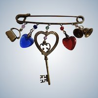 """Old Time Looking Safety Pin Charm Brooch Costume Jewelry 3"""""""