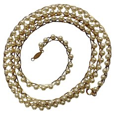 """Napier Faux Pearl and Gold Tone Beaded Necklace Costume Jewelry 30"""""""