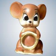 Josef Originals Angel Mouse Holding a Golden Wedding Ring Made in Japan Figurine