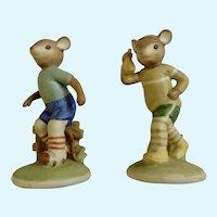 Lefton China Sport Mouse Jogging & Rollerskating Mice Figurines