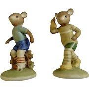 Lefton China Sport Mouse Figurine Set Jogging & Rollerskating Mice #04461 Original Foil Label Hand Painted Figurines