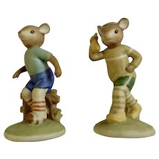 Lefton China Sport Mouse Figurine Set Jogging & Rollerskating Mice #04461 Original Foil Label Hand Painted Figurines