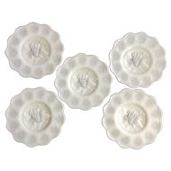 """Imperial Glass Ohio Heavy Grape Milk Glass 8"""" Salad Plates Set of 5 Discontinued"""