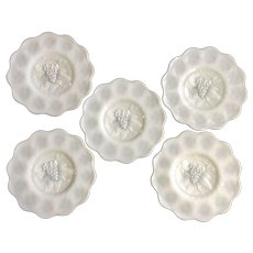 "Imperial Glass Ohio Heavy Grape Milk Glass 8"" Salad Plates Set of 5 Discontinued"