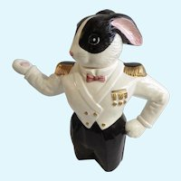 Fitz and Floyd Sea Captain Anthropomorphic Bunny Rabbit Teapot Figural OCI Omnibus