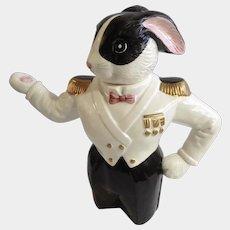 Fitz and Floyd Sea Captain Black and White Tuxedo Anthropomorphic Bunny Rabbit Teapot Figural OCI Omnibus 48oz