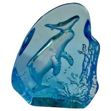 Robert Wyland, Humpback Whale and Calf Baby Etched Crystal Glass 2002 Blue Glass Sculpture Signed E16061