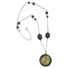 Faux Watch Pendant with Beads and Rhinestones Pewter Looking Necklace 31-1/2""