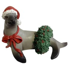 Silver Deer Christmas Animals Collections Seal with Wreath in Santa Hat and Red Bow Tom Rubel Figurine