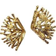 "Gold tone Coral and Diamond Rhinestone Clip-on Earrings Costume Jewelry 1-1/2"""