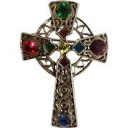 Celtic Cross Sparkle Red Green Blue Purple Yellow Rhinestones Pin