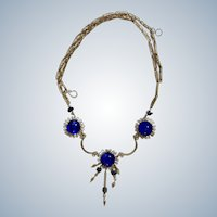 Blue Glass Beads with Dangling Beads and Silver- tone Metal Feathers Costume Jewelry