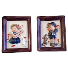 Napco Boy and Dog, Girl and Bunny Rabbit Ceramic Wall Hanging Pictures Signed by artist Norton Vintage Japan Hummel Style