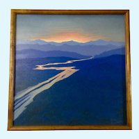 Bill Ransom, River Reflecting Sunset from mountain Vistas, Oil painting