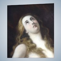 Beautiful 19th Century Old Master Religious Pastel Painting of Mary Magdalen