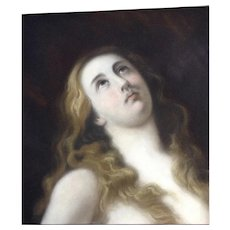 19th Century Old Master Religious Pastel Painting of Mary Magdalen