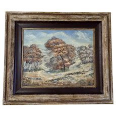 Anna H. Essick, (1906–1977, American) South Oaks Landscape Oil Painting on Board Signed by Artist 1955