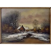 Figural In front of Rural Homestead Early Folk Art Oil Painting Signed