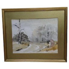 Blake Lance, Landscape Mixed Media Watercolor Painting Signed by Artist