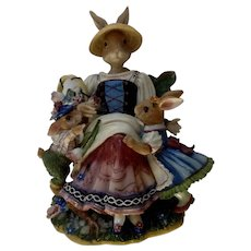 Fitz & Floyd Old World Rabbits Music Box Plays, Dreaming of Home and Mother, Anthropomorphic Bunnies Discontinued 1999 - 2003 Figurine With Box