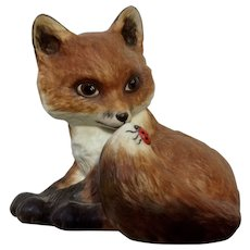 Fox & Ladybug Franklin Mint Outfoxed by Deborah Bell Jarratt 1985 FP Ceramic figurine
