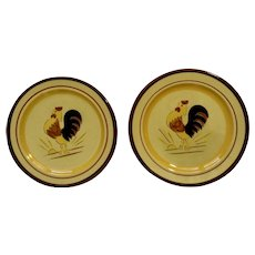 1956 - 1978 Stangl Country Life Rooster Yellow Hanging Kitchen Plates Hand Painted Pottery 6-1/4""