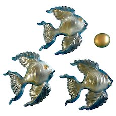 Irene Smith Wall Fish Plaques Black Opalescent Gold tone Ceramic Decor Vintage Retro Mid - Century