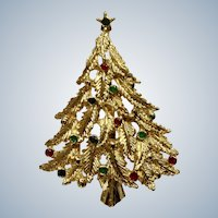 Christmas Tree with Colored Balls Brooch Pin 2-1/4""
