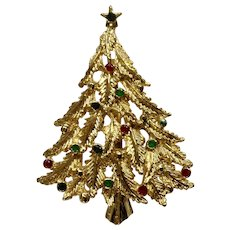 """Vintage Gold Tone Christmas Tree with Colored Balls Brooch Pin Costume Jewelry 2-1/4"""""""