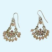 """Dangling Beaded Aurora Borealis Pierced Ear Fishhook Earrings Costume Jewelry 1-1/4"""""""