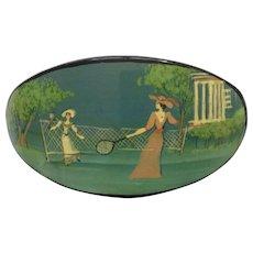 Russian Black Lacquer Hair Barrette Clip Clasp, European Victorian Style Figural Badminton Games Hand Painted 1980's
