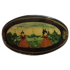 Russian Black Lacquer Hair Barrette Clip Clasp, European Victorian Style Figural Badminton Games Hand Painted 1980's