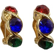 Green Blue Red Rhinestone Gold-tone Christmas Clip on Earrings Costume Jewelry 1""