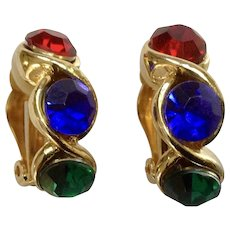 """Green Blue Red Rhinestone Gold-tone Christmas Clip on Earrings Costume Jewelry 1"""""""