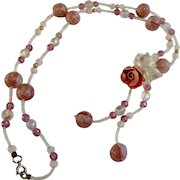 Pink Rose Floral Beaded Necklace Costume Jewelry 25""