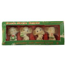 Vintage Anthropomorphic Comic Mouse Angels Christmas Decorations Hand Painted Santa Mice Plastic Figurines in Original Box