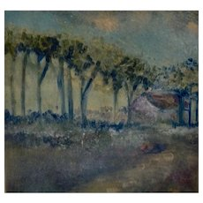 Impressionist Landscape Watercolor Painting Tree Lined Path to House, Works on Paper