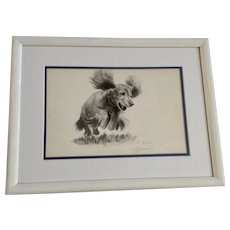 N. Kepler, Playful Dachshund Doxin Puppy Dog Jumping, 1920's Watercolor Painting Signed by Artist